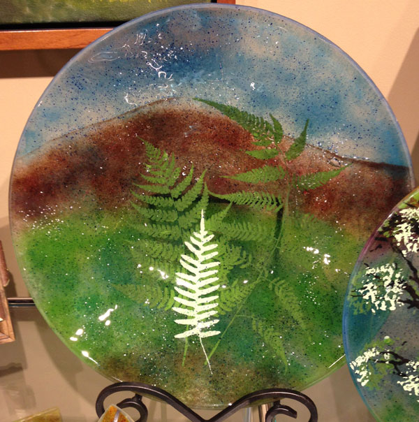 Linda Banks Fused Glass Mountain & Fern Large Bowl