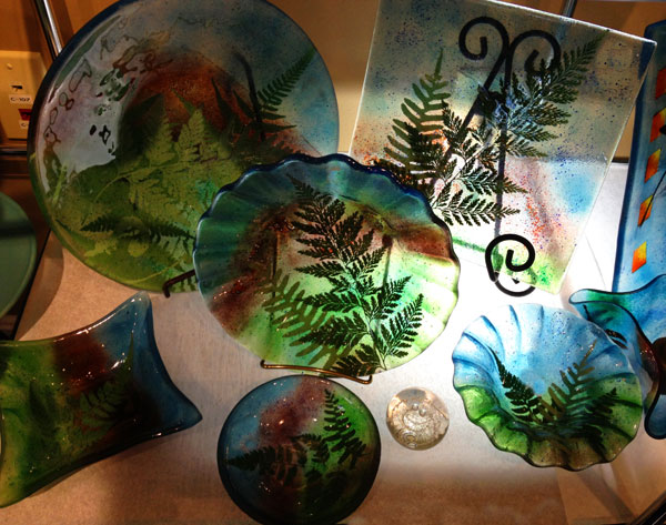 Linda Banks Fused Glass Mountain & Fern Collection