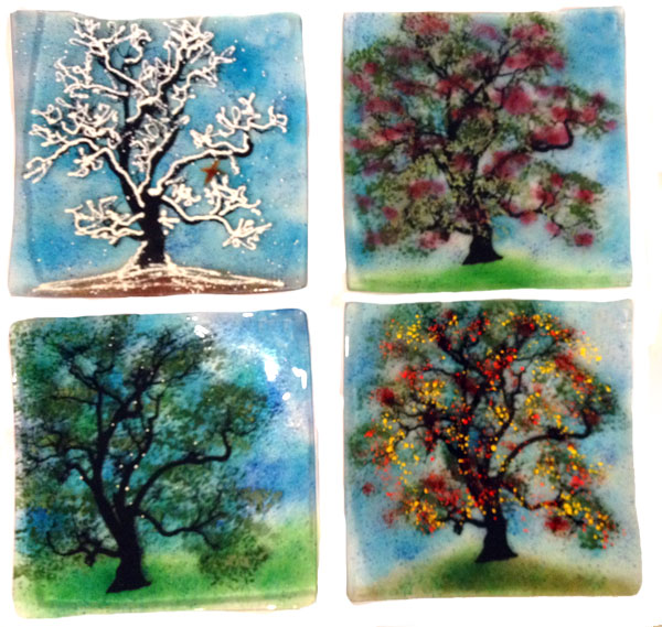 Linda Banks Fused Glass Four Seasons Plates